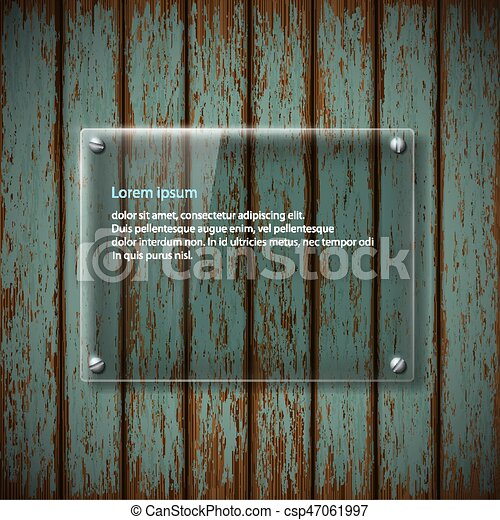 glass plate on old wooden wall - csp47061997