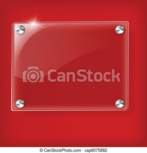 Glass plate on Red background - csp9075882