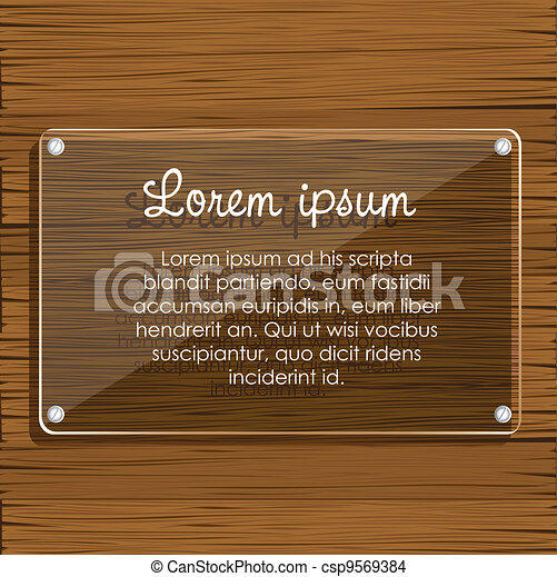 glass plate on wooden  - csp9569384