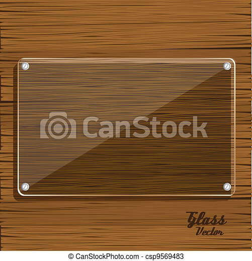 glass plate on wooden - csp9569483