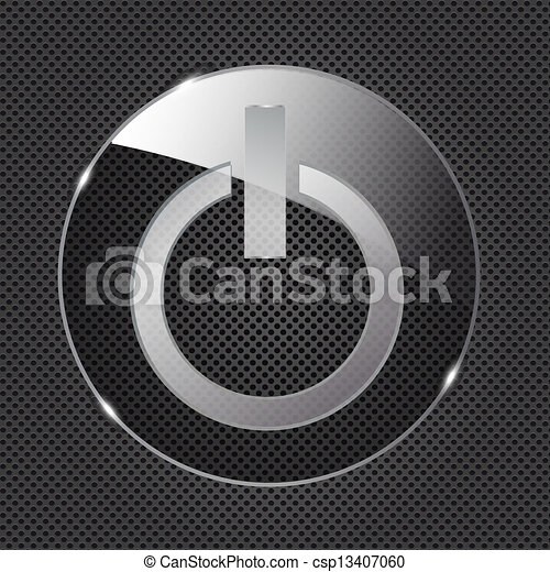 Glass power button icon on metal background. Vector illustration - csp13407060