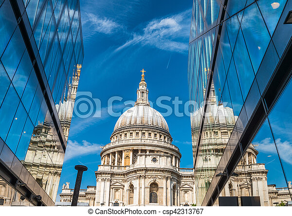 Glass reflections of St Paul Cathedral, London - csp42313767