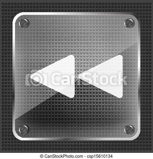 glass rewind icon - csp15610134