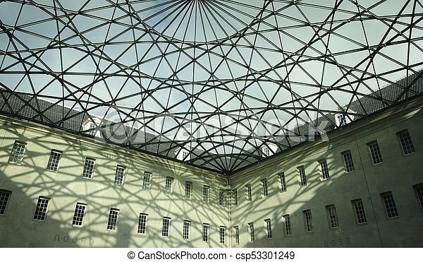 Glass Roof On A Big Building In Amsterdam The Netherlands