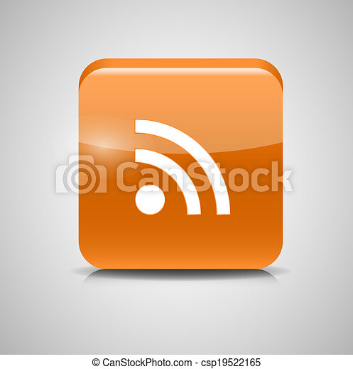 Glass Rss Button Icon. Vector Illustration - csp19522165