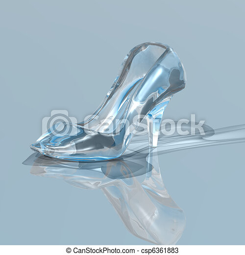 Crystal High Heel, Glass Slipper. 3D Rendering Isolated On