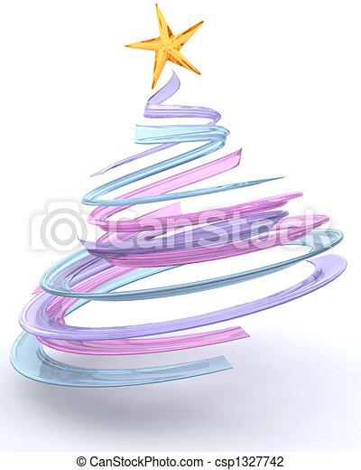 Glass spiral Christmas tree - csp1327742