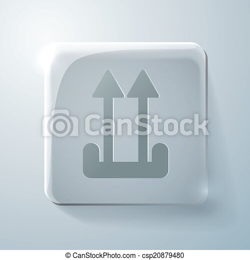 Glass Square Icon Arrow Up The Symbol Of The Logistic Icon Two