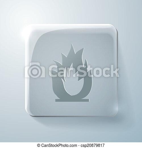 Glass square icon. fire sign - csp20879817