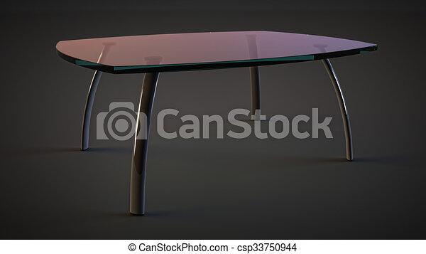 Glass Table Transparent Top Metal Legs   Csp33750944