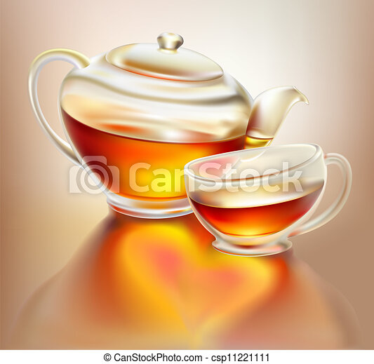 Glass teapot and cup with tea - csp11221111