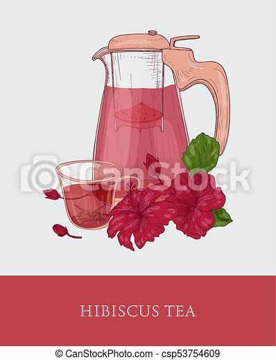 Glass Teapot With Strainer Cup Of Red Hibiscus Tea And Roselle
