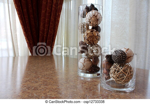 Glass Vases And Earthy Decorations Tall And Short Glass Vase With