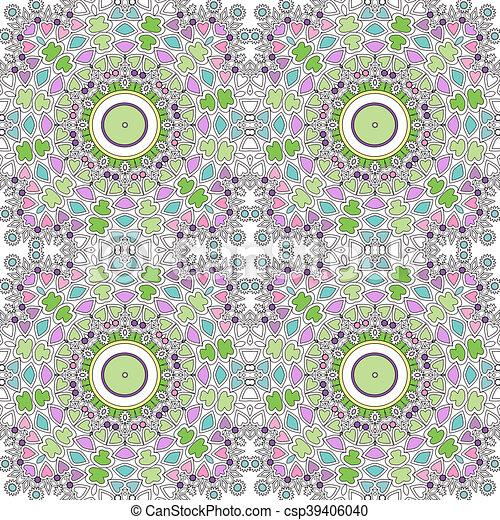 Glass vitrage mosaic kaleidoscopic seamless pattern - csp39406040