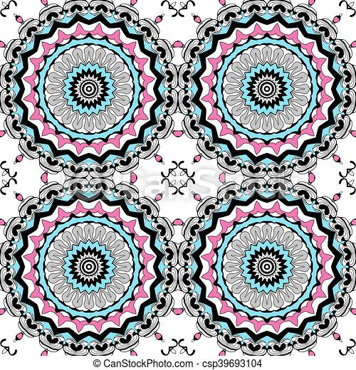Glass vitrage mosaic kaleidoscopic seamless pattern - csp39693104