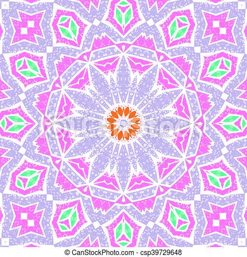 Glass vitrage mosaic kaleidoscopic seamless pattern - csp39729648