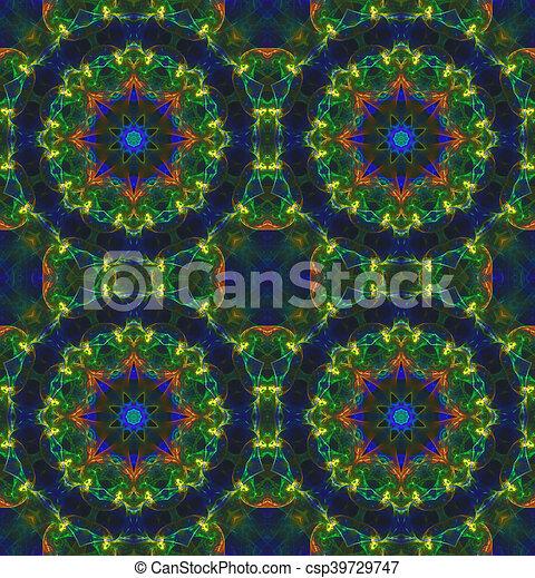Glass vitrage mosaic kaleidoscopic seamless pattern - csp39729747