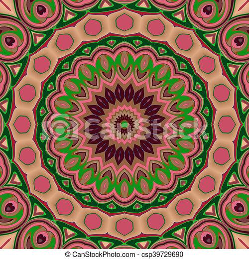 Glass vitrage mosaic kaleidoscopic seamless pattern - csp39729690