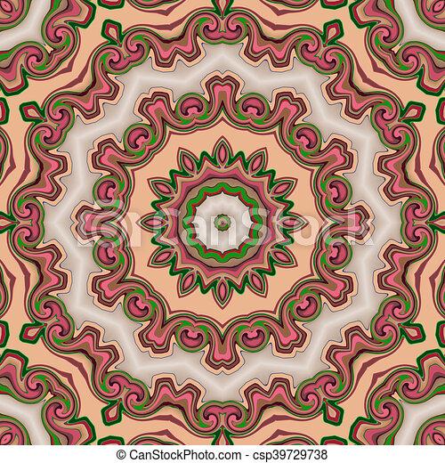 Glass vitrage mosaic kaleidoscopic seamless pattern - csp39729738