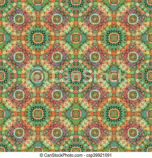 Glass vitrage mosaic kaleidoscopic seamless pattern - csp39921091