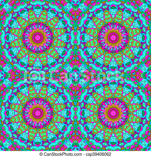 Glass vitrage mosaic kaleidoscopic seamless pattern - csp39406062
