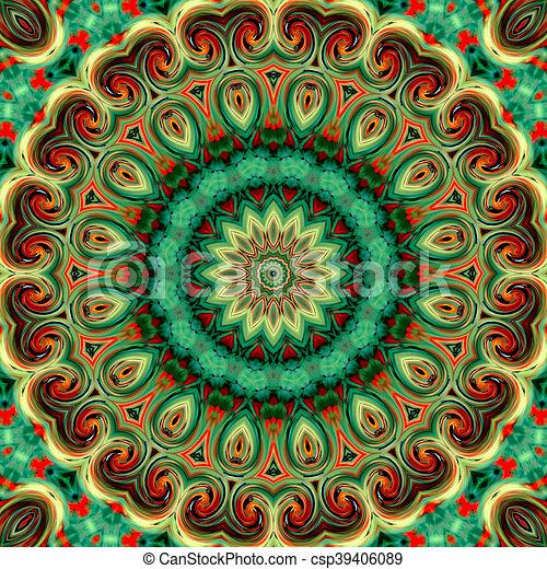Glass vitrage mosaic kaleidoscopic seamless pattern - csp39406089