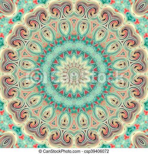 Glass vitrage mosaic kaleidoscopic seamless pattern - csp39406072
