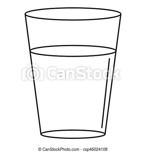 glass water icon outline style glass water icon outline stock rh canstockphoto com full glass of water clipart glass of water clipart