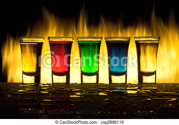 Glass with alcohol against fire with reflexion - csp2896119