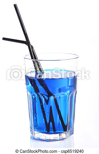 Glass with blue cocktail - csp6519240