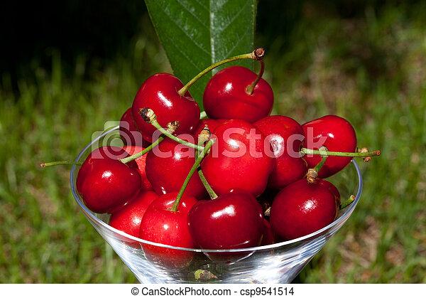 Glass With Cherries - csp9541514