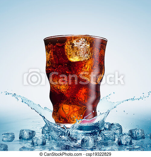 glass with cola and ice  - csp19322829