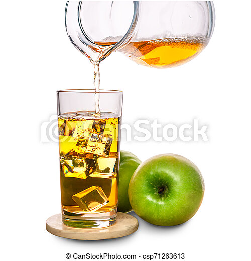glass with ice and pouring apple juice decorated fruits on stone isolated over white background, concept of refreshing summer drink - csp71263613