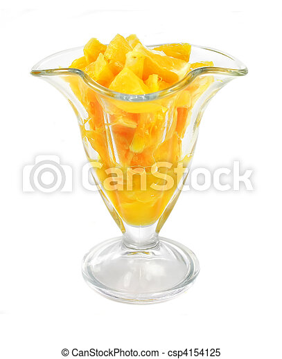 glass with juicy orange fruit pieces isolated on the white - csp4154125