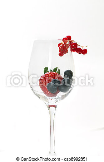 Glass With Red Fruits - csp8992851