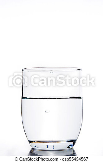 Glass with water on white background - csp55434567