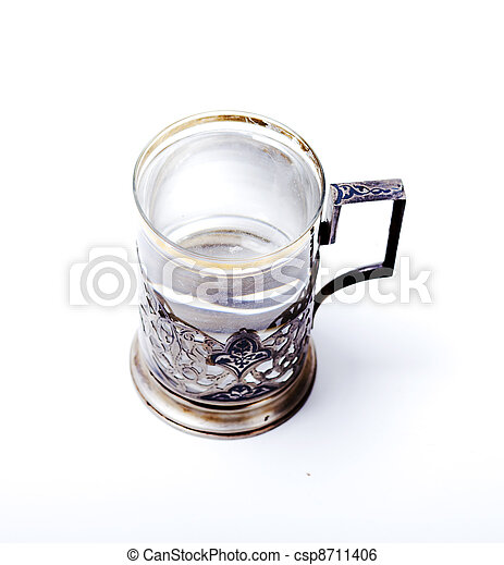 Glass with water on white background - csp8711406