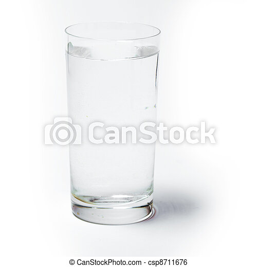 Glass with water on white background - csp8711676