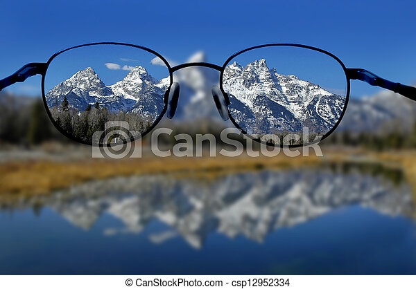 Glasses and Clear Vision of Mountains - csp12952334