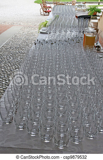 glasses during a wedding celebration for the aperitif - csp9879532