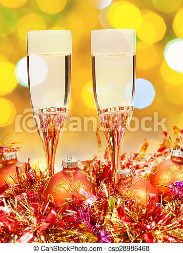 glasses, gold Xmass balls on blurry background 7 - csp28986468
