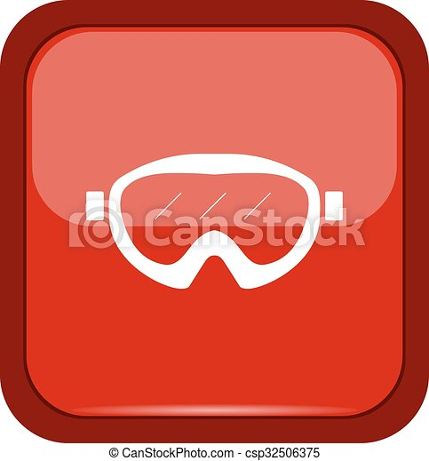 Glasses icon on a red button - csp32506375