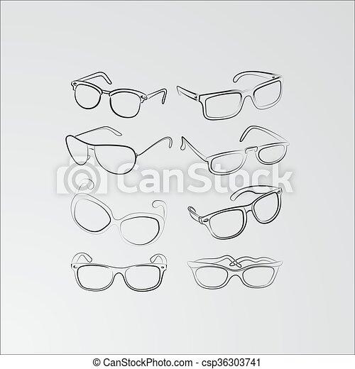 Set of custom glasses isolated. vector illustration. glasses model ...