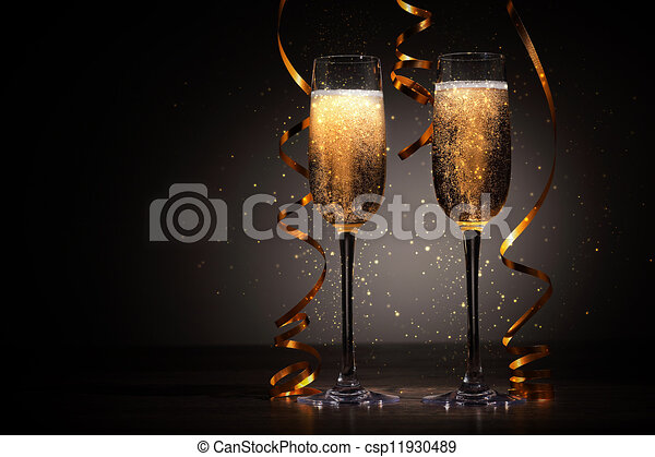 glasses of champagne at new year party csp11930489