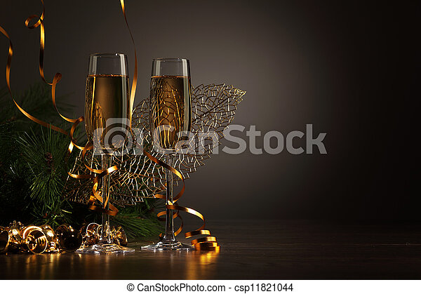 Glasses of champagne at new year party - csp11821044