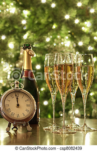 Glasses of champagne for New Years - csp8082439