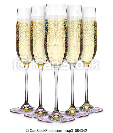 Glasses of champagne isolated on a white  - csp31084342