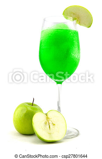 Glasses of juice, apples on white background - csp27801644