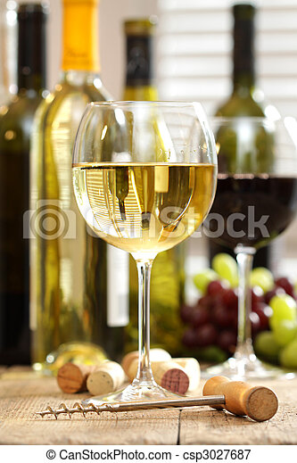 Glasses of wine with bottles  - csp3027687