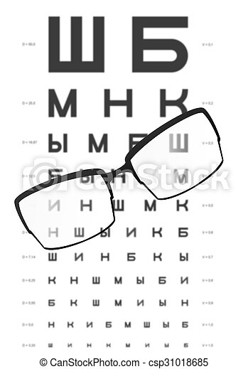 Glasses On The Table With Eye Test Chart In The Backgroundfor